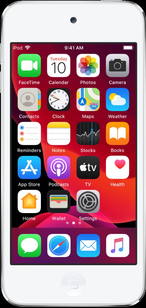 Hjem-skjermen på iPodtouch med Mørkmodus slått på.