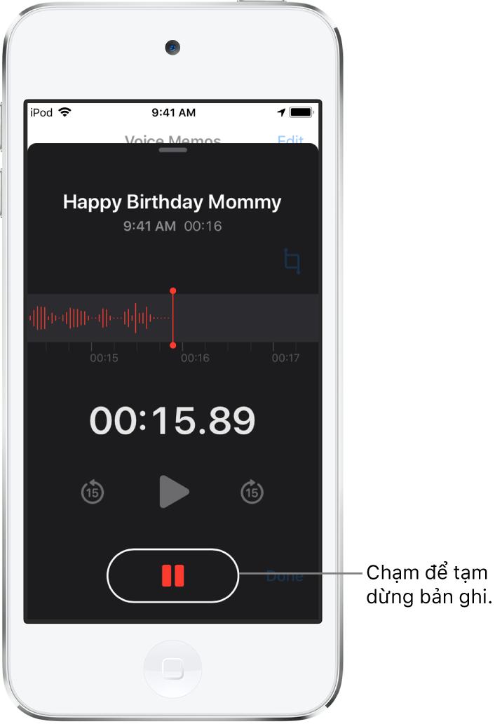 Màn hình Ghi âm đang hiển thị quá trình ghi âm đang diễn ra với nút Tạm dừng hiện hoạt và các điều khiển phát, tua đi 15 giây và tua lại 15 giây bị làm mờ. Phần chính của màn hình hiển thị dạng sóng của bản ghi âm đang thực hiện, cùng với một chỉ báo về thời gian.