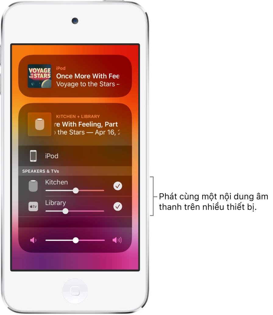 Màn hình iPodtouch đang hiển thị HomePod và Apple TV dưới dạng đích âm thanh được chọn.