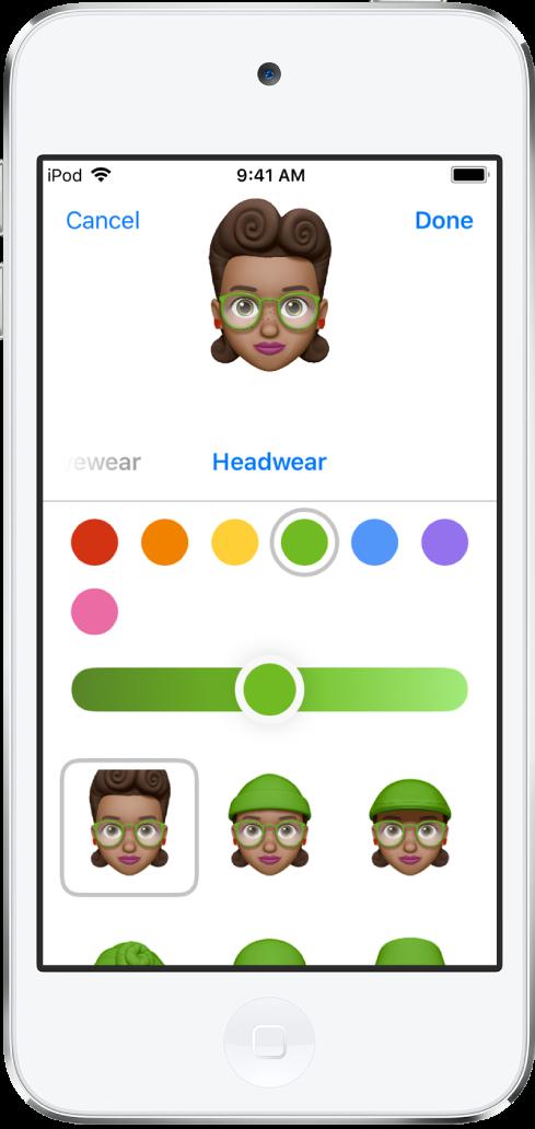 Màn hình tạo Memoji, đang hiển thị nhân vật đang được tạo ở trên cùng, các đặc điểm để tùy chỉnh ở bên dưới nhân vật, và các tùy chọn cho tính năng được chọn ở cuối màn hình. Nút Xong nằm ở trên cùng bên phải và nút Hủy nằm ở trên cùng bên trái.