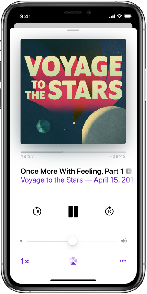 The playback controls on the Now Playing screen. Below the podcast artwork, drag the track position slider to rewind or move ahead. Below the episode title, there are buttons to rewind, play or pause, and fast forward. Below those is the volume control. In the bottom-left corner is the control for changing the playback speed. In the bottom-right corner is the More button.