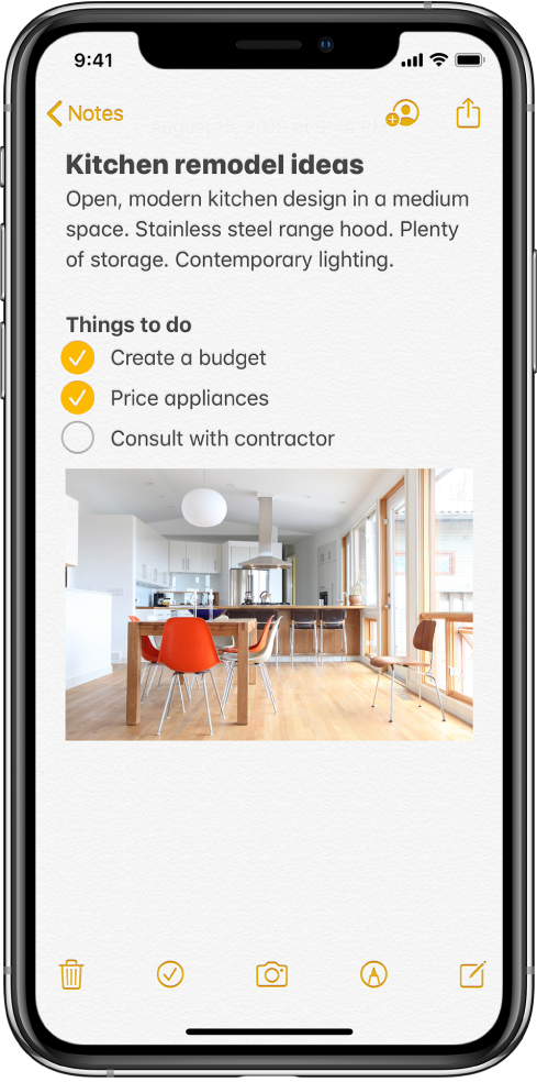 A note showing text for kitchen remodeling ideas and a to-do checklist. There are buttons to collaborate with other people on the note and to share the note. There are buttons at the bottom to delete the note, add a checklist, add a photo, show handwriting tools, and create a new note.