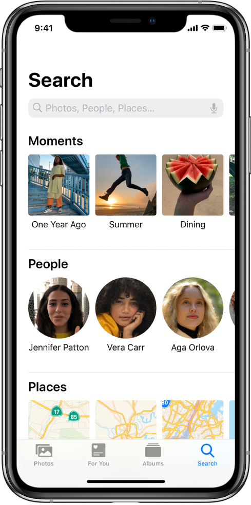 The Search tab populated with suggestions for Moments, People, and Places. The search field is located at the top.