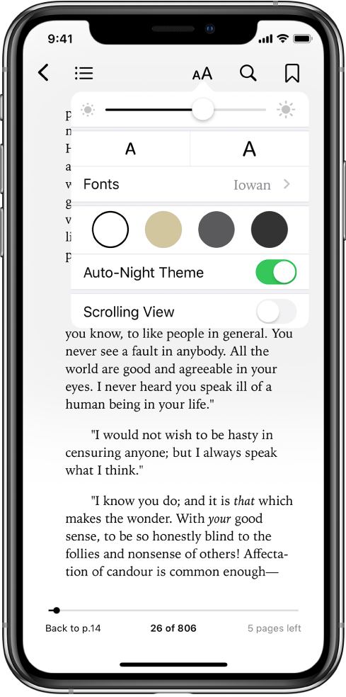 The appearance menu showing controls for, from top to bottom, brightness, font size, font, page color, auto-night theme, and scrolling view.
