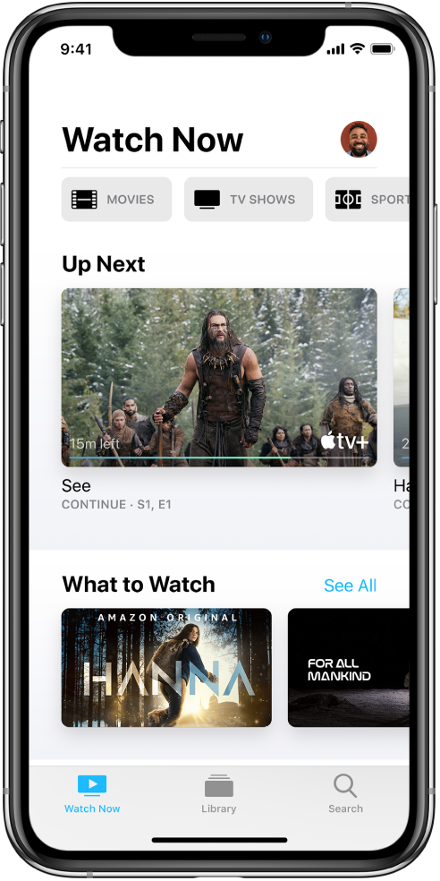 The Watch Now screen showing buttons for Movies, TV Shows, and Sports in the top row. The Up Next row is in the center, above the What to Watch row. At the bottom, from left to right, are the Watch Now, Library, and Search tabs.
