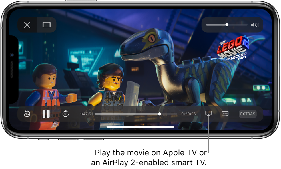 A movie playing on the iPhone screen. At the bottom of the screen are the playback controls, including the Screen Mirroring button near the bottom right.