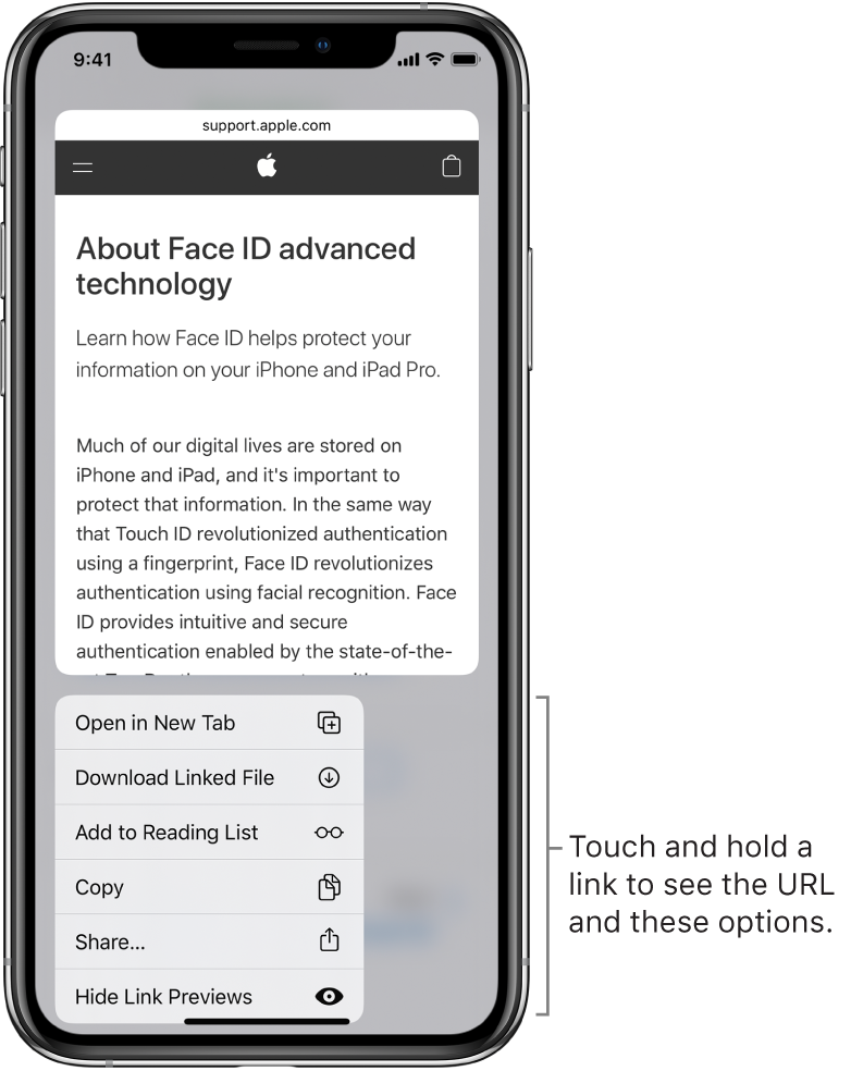An overlay showing a preview of the destination URL followed by a list of possible actions: Open, Add to Reading List, Add to Photos, Copy, and Share.