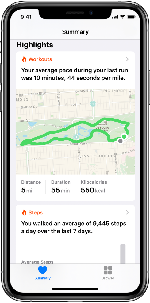 A Summary screen in Health showing highlights that include the time, distance, and route for the last running workout and the average steps per day over the last 7 days.