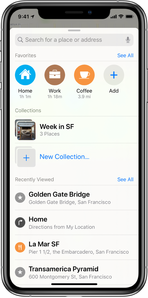 """The search card fills the screen. The section for Collections appears below the search field and the Favorites row. In the Collections list is a collection named """"Week in SF,"""" and an option for creating a new collection."""