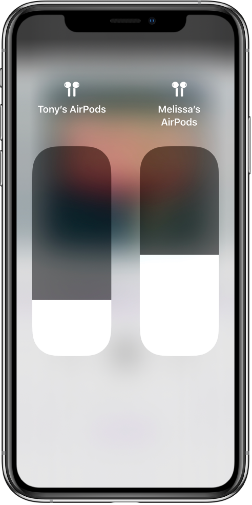 Volume slider controls for two sets of AirPods.