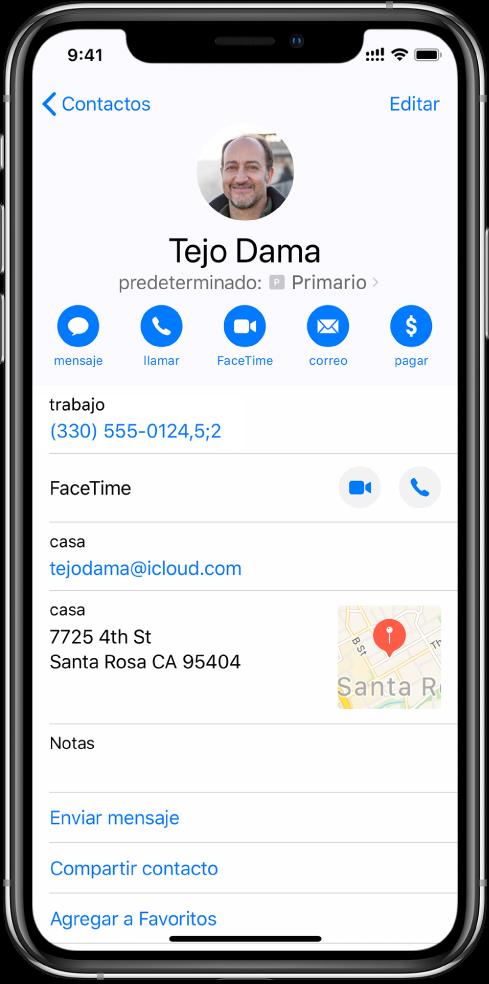 Un número de teléfono con una coma, indicando una pausa de dos segundos entre los dígitos; un punto y coma, indicando que se debe detener la marcación hasta que vuelva a tocar Marcar.