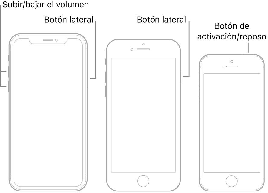 Ilustraciones de tres tipos de modelos de iPhone con la pantalla hacia arriba. El de la izquierda muestra los botones de volumen que se encuentran en el lado izquierdo del dispositivo. El botón lateral está en el lado derecho. El del centro muestra el botón lateral a la derecha del dispositivo. El de la derecha muestra el botón de activación/reposo en la parte superior del dispositivo.