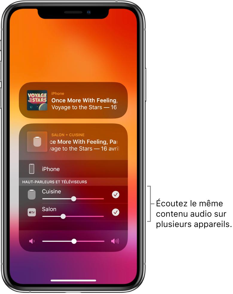L'écran de l'iPhone affichant le HomePod et l'AppleTV comme destinations audio sélectionnées.