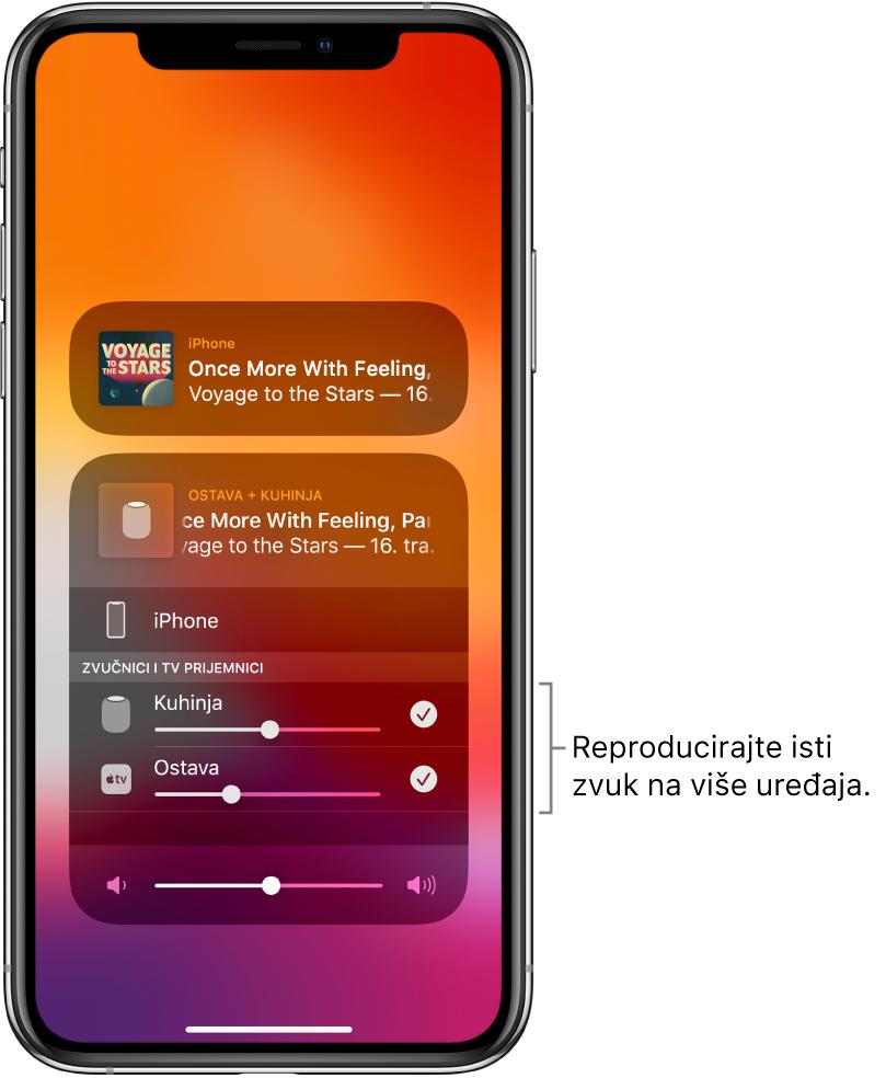 Zaslon iPhonea na kojem se prikazuje HomePod i Apple TV kao odabrana audio odredišta.