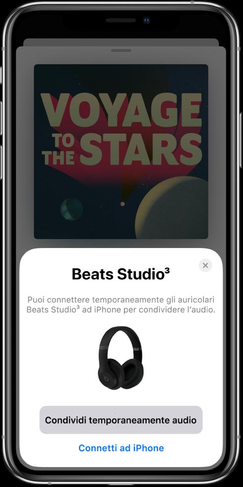 Schermo di iPhone con immagine di cuffie Beats. Nella parte inferiore dello schermo è visibile un pulsante per condividere temporaneamente l'audio.