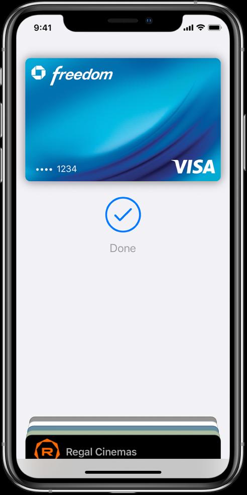 """Kredito kortelė """"Wallet"""" ekrane. Po kortele yra žymė ir žodis """"Done""""."""