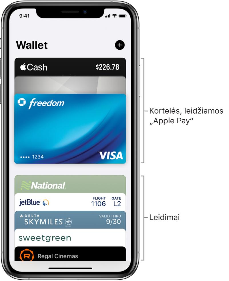 """""""Wallet"""" ekranas, kuriame matomi kelių kredito ir debeto kortelių ir bilietų viršūs."""