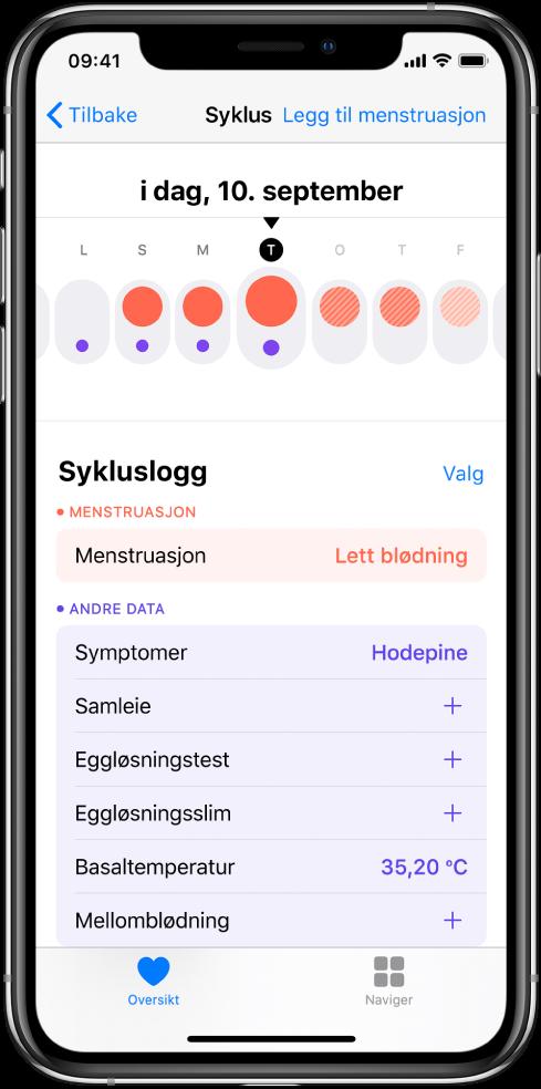 Syklus-skjermen viser tidslinjen for uken øverst på skjermen. Røde sirkler viser de første tre dagene, og de to siste dagene er lyseblå. Under tidslinjen er det valg for å legge til informasjon om menstruasjon, symptomer og mer.