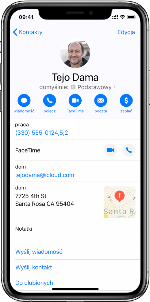 Numer telefonu zawierający przecinek, który reprezentuje dwusekundową pauzę między wybieranymi cyframi, oraz średnikiem, który zatrzymuje wybieranie numeru do czasu ponownego stuknięcia wWybierz.