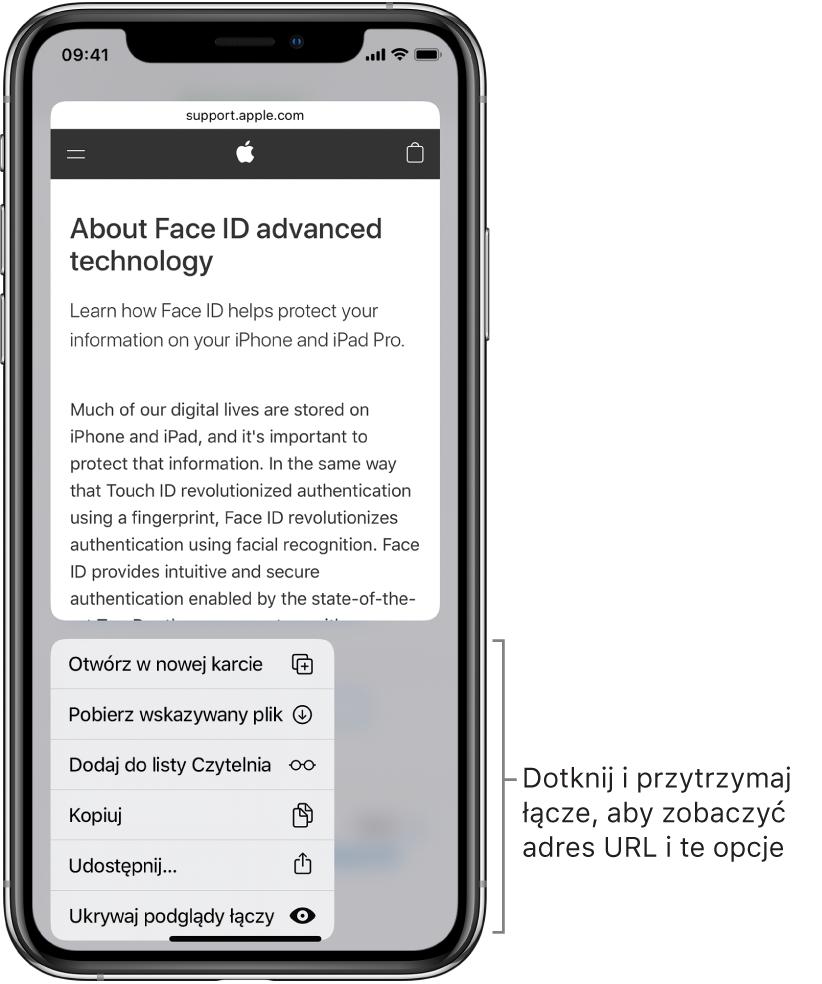 Nakładka pokazująca podgląd strony docelowej adresu URL oraz listę dostępnych czynności: Otwórz, Dodaj do listy Czytelnia, Dodaj do Zdjęć, Kopiuj oraz Wyślij.
