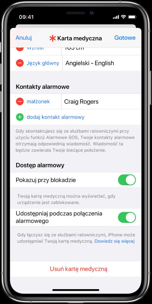 Ekran karty medycznej. Na dole widoczne są opcje umożliwiające wyświetlanie karty medycznej, gdy ekran iPhone'a jest zablokowany oraz gdy wykonujesz połączenie alarmowe.