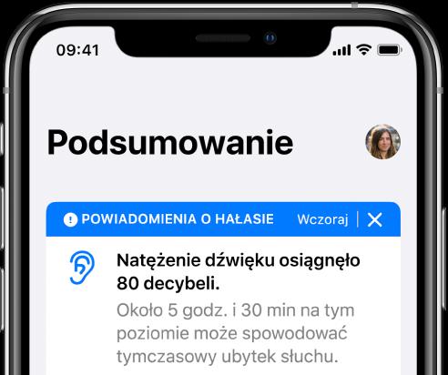 Ekran Podsumowanie zawierający zdjęcie profilowe wprawym górnym rogu.