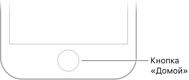 Показана кнопка «Домой» в нижней части iPhone.