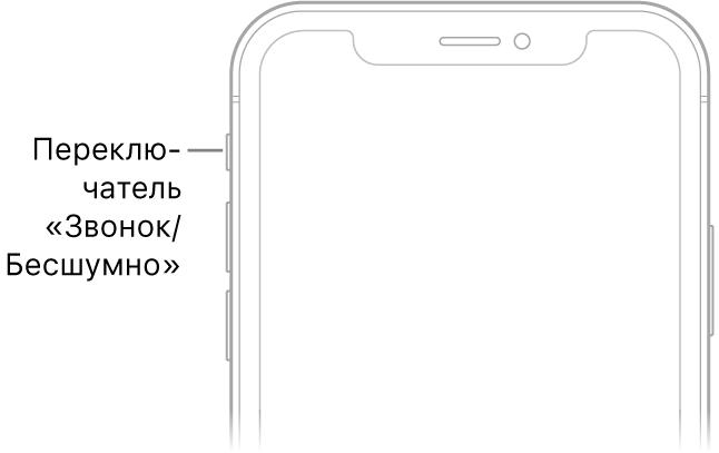 Верхняя часть передней панели iPhone с выноской, указывающей на переключатель «Звонок/Бесшумно».