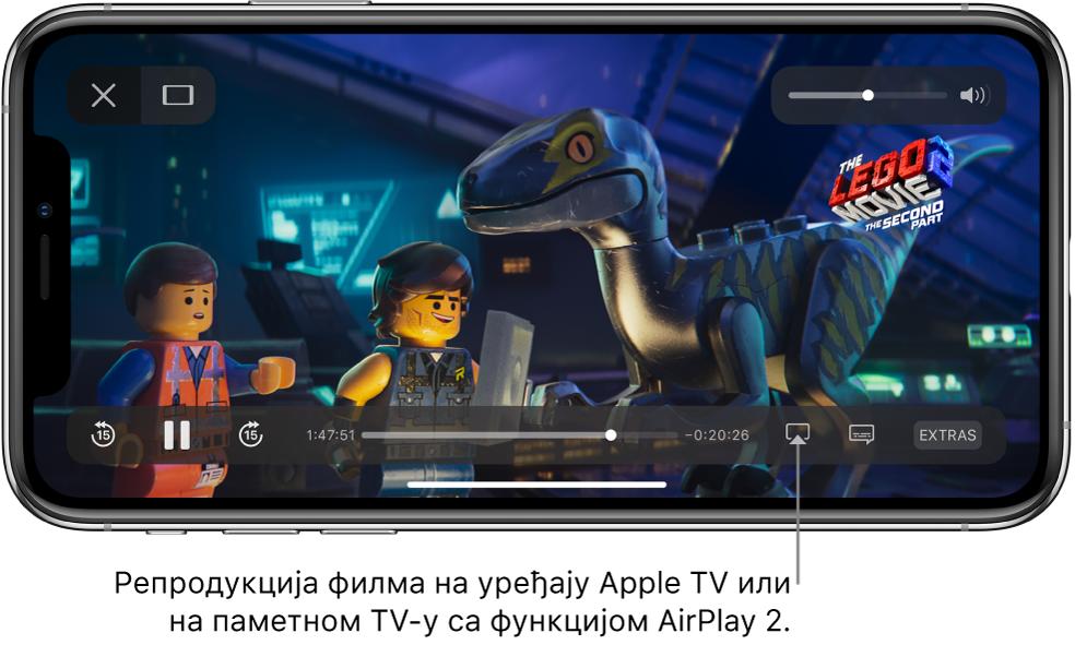 На екрану iPhone-а репродукује се филм. При дну екрана смештене су контроле за репродукцију, укључујући дугме Screen Mirroring с десне стране.
