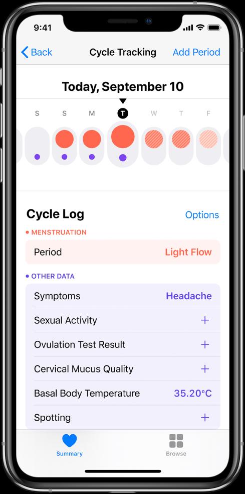 Екран Cycle Tracking при врху екрана приказује временску линију за седмицу. Пуни црвени кругови означавају прва три дана, а последња два дана су светло плава. Испод временске линије су опције за додавање информација о циклусима, симптомима и осталом.