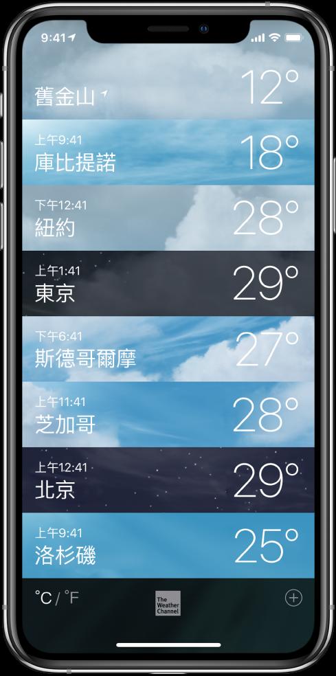 城市列表,每個都會顯示時間和目前的氣溫。