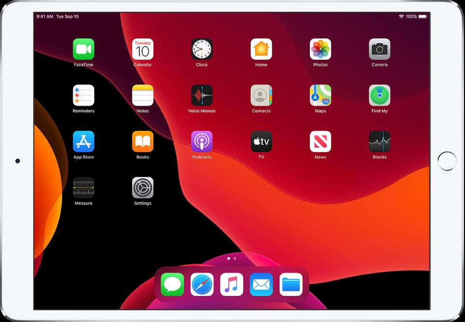 The iPad Home screen in Dark Mode.