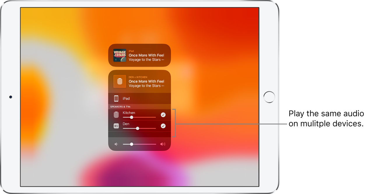 The iPad screen showing HomePod and Apple TV as selected audio destinations.
