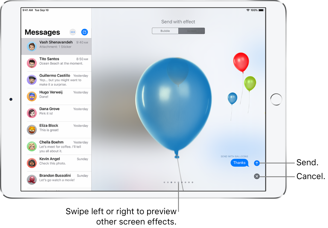 A message preview showing a full-screen effect with balloons.