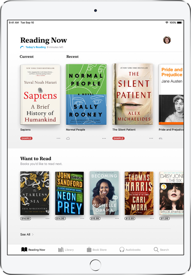 A screen in the Books app. At the bottom of the screen are, from left to right, the Reading Now, Library, Book Store, AudioBooks, and Search tabs—the Reading Now tab is selected. At the top of the screen is the Reading Now section, which shows the books currently being read. Below that is the Want to Read section, which shows books you may want to read.