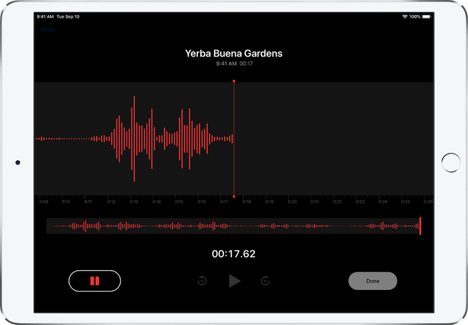 The Voice Memos record screen with controls for starting, pausing, playing, and finishing a recording.