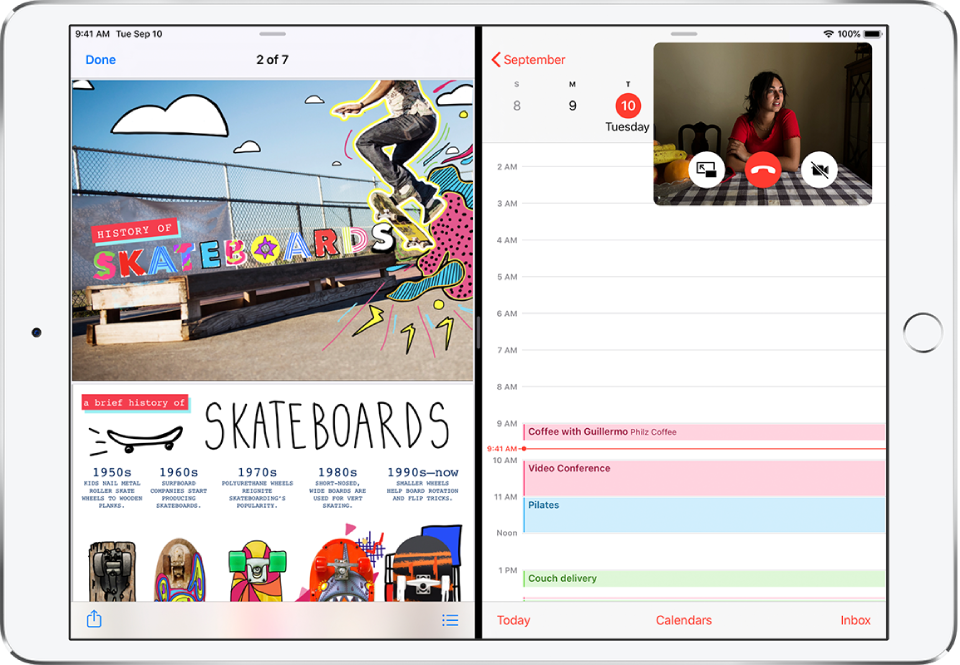 A graphics app is open on the left side of the screen, Calendar is open on the right, and a small FaceTime window appears in the upper-right corner.