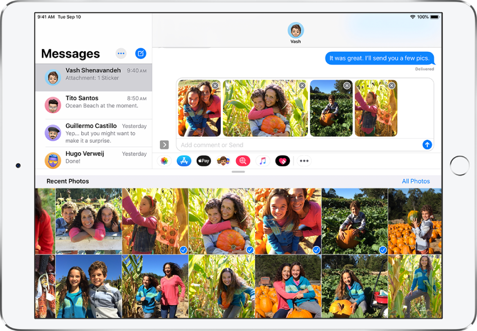 A Messages window with the Photos iMessage app overlaid on top of the message. At the top of the overlay are the buttons for browsing photos.