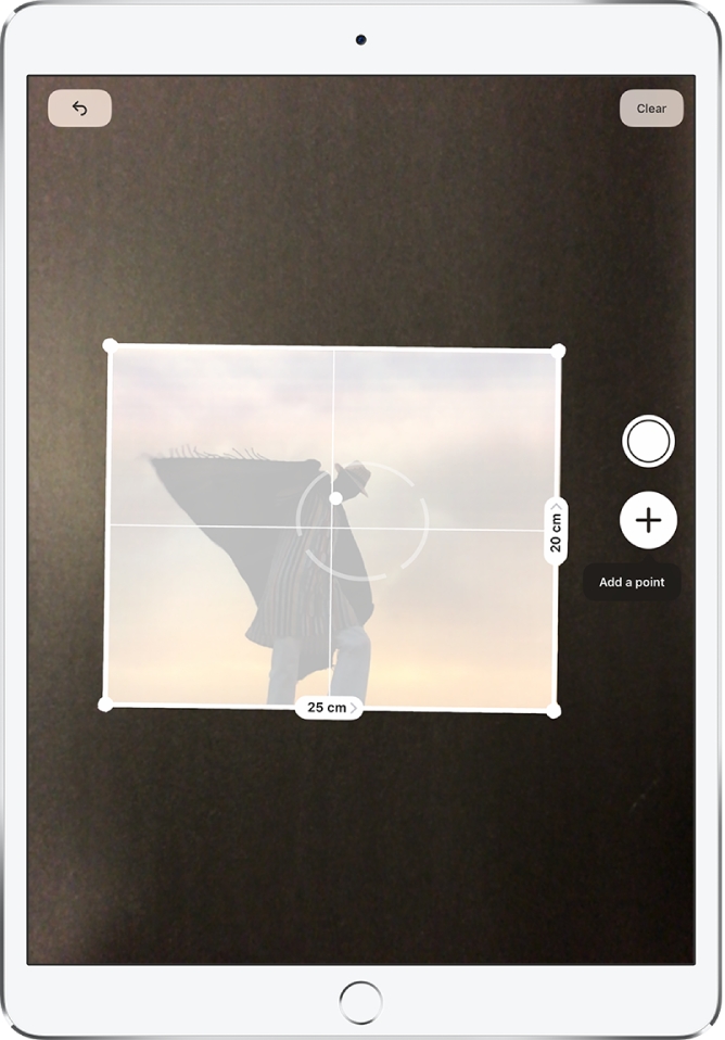 A paper photograph is measured, with its dimensions showing at its right and bottom edges. The Take Picture button is near the middle of the right edge.