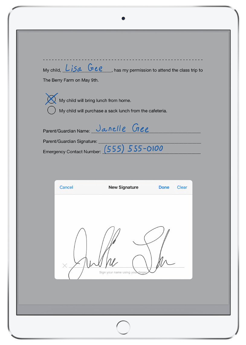 A new signature being added to a PDF using Apple Pencil. Behind the new signature window is a permission slip for a child to attend a class trip.