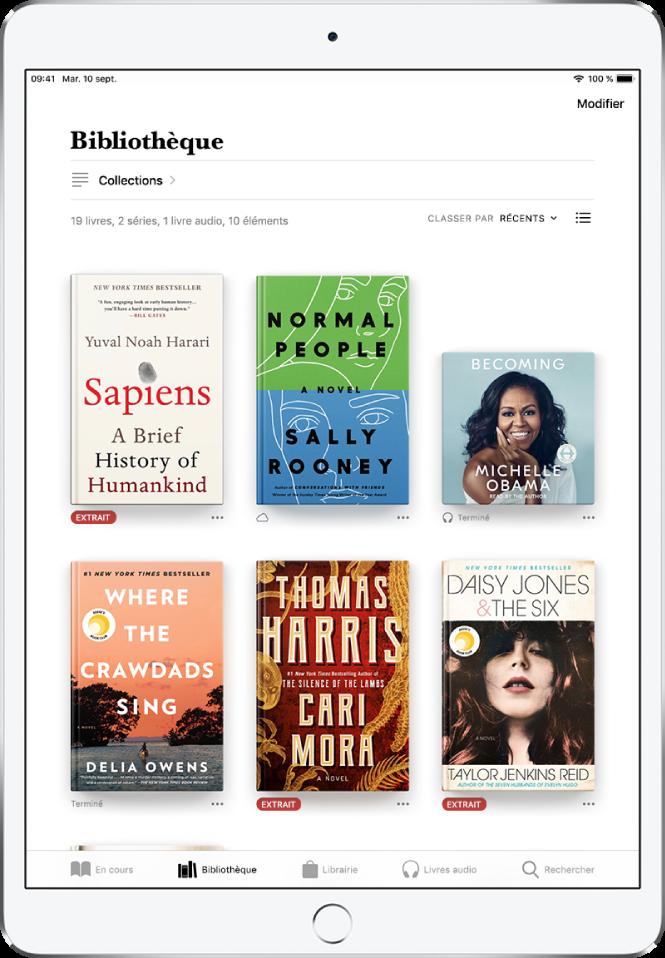 L'écran Bibliothèque dans l'app Livres. En haut de l'écran se trouvent le bouton Collections et les options de tri. L'option de tri Récents est sélectionnée. Au milieu de l'écran se trouvent les couvertures des livres de la bibliothèque. En bas de l'écran se trouvent, de gauche à droite, les onglets En cours, Bibliothèque, Librairie, Livres audio , et Rechercher.