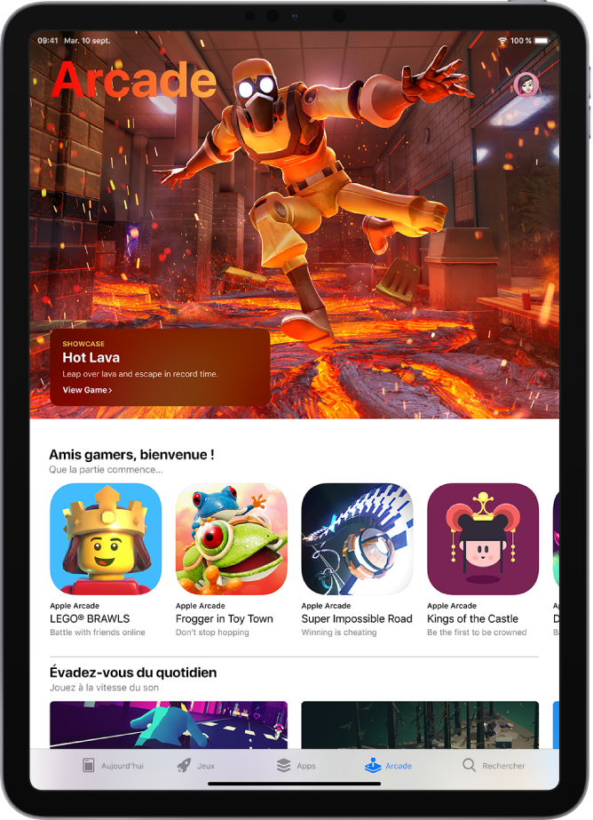 L'écran Arcade de l'AppStore montrant un jeu recommandé ainsi que d'autres recommandations. Votre photo de profil, que vous touchez pour afficher les achats et gérer les abonnements, se trouve en haut à droite. En bas de l'écran, de gauche à droite, se trouvent les onglets Aujourd'hui, Jeux, Apps, Arcade et Rechercher.