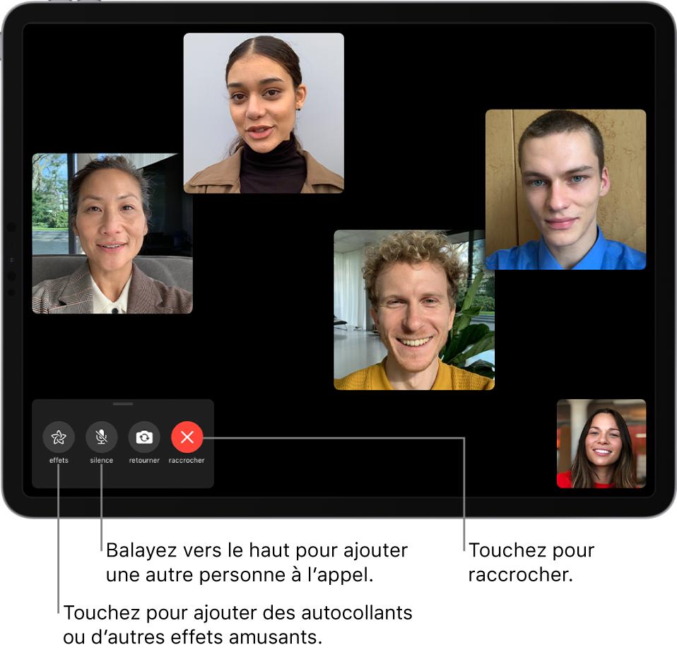 Un appel FaceTime en groupe réunissant cinq participants, dont l'auteur de l'appel. Chaque participant apparaît dans une tuile distincte. Les commandes situées en bas à gauche sont effets, silence, retourner et fin.