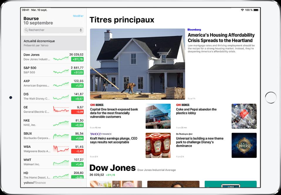 L'écran Bourse en orientation paysage. Le champ de recherche se trouve dans le coin supérieur gauche. En dessous du champ de recherche se trouve la liste de suivi. Les meilleurs articles associés à la bourse dans la liste de suivi remplissent le reste de l'écran.