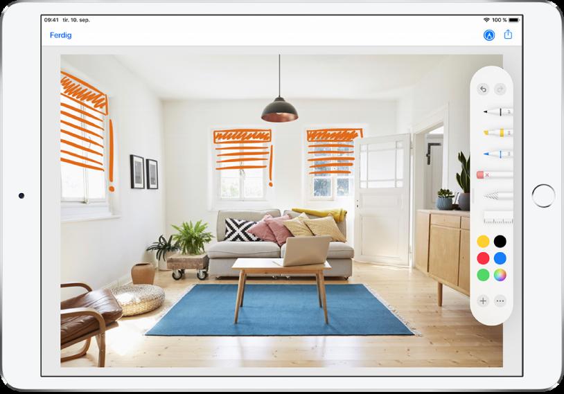 Et bilde er merket med oransje streker for å vise persienner i et vindu. Tegneverktøy og fargevalg vises til høyre på skjermen.