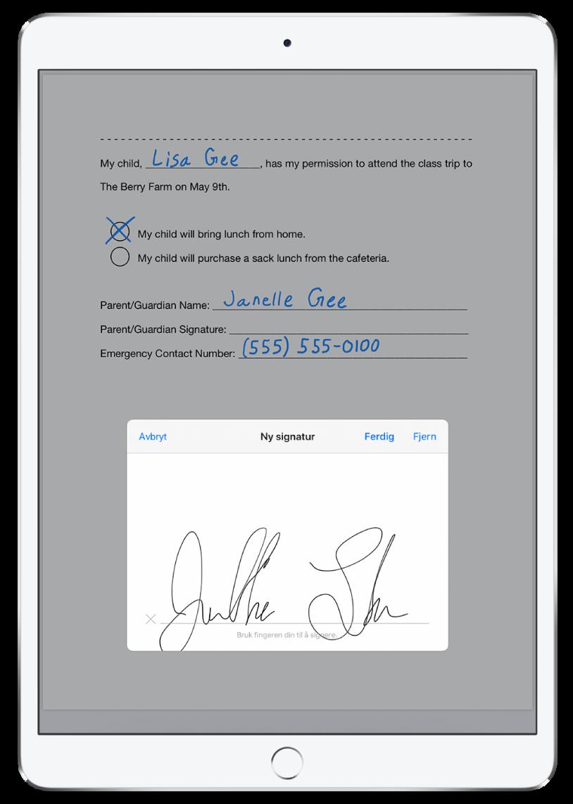 En ny signatur legges til i en PDF med ApplePencil. Bak det nye signaturvinduet vises en lapp som gir et barn lov til å bli med på en klassetur.