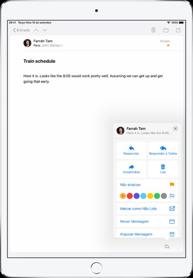 Um e-mail mostrando opções de resposta no canto inferior direito. Abaixo dessas opções, a escolha de cores para sinalização.