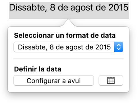 """Els controls """"Data i hora"""", en què es mostra un menú desplegable per al format de la data i el botó """"Configurar a avui""""."""