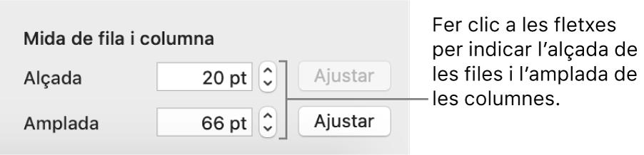 Els controls per especificar una mida exacta de fila o columna.