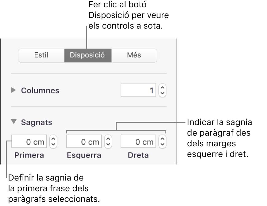 Els controls de la secció Disposició de la barra lateral Format per definir el sagnat de la primera línia.